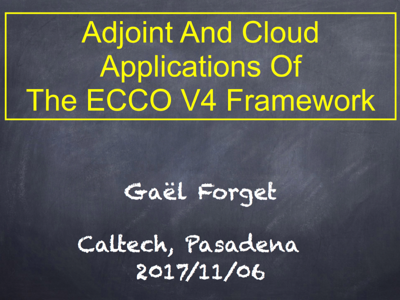Presentation title page: Adjoint and Cloud Applications of the ECCO V4 Framework