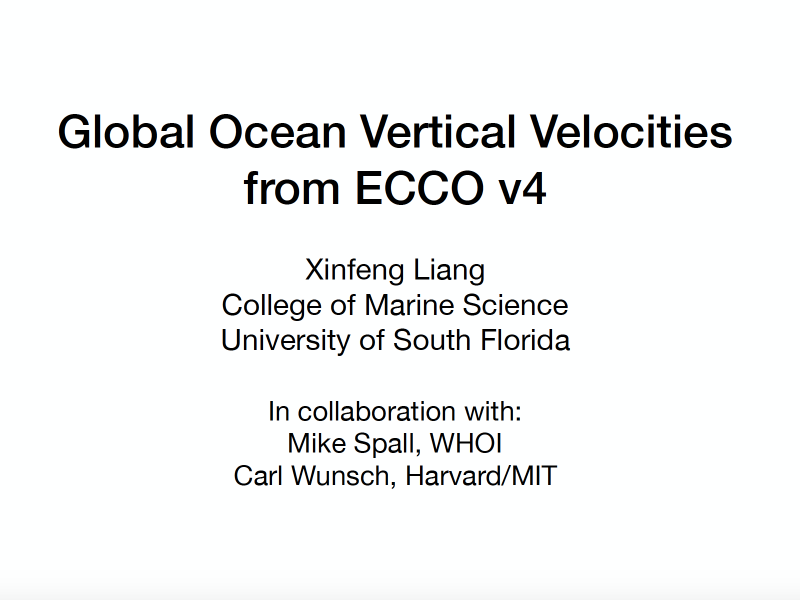 Presentation title page: Global Ocean Vertical Velocities from ECCO v4