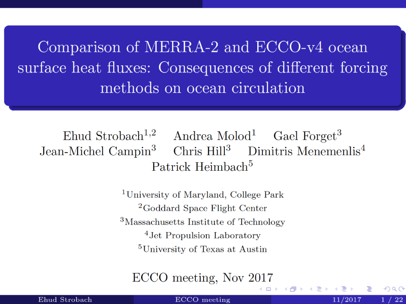 Presentation title page: Comparison of MERRA-2 and ECCO-v4 Ocean