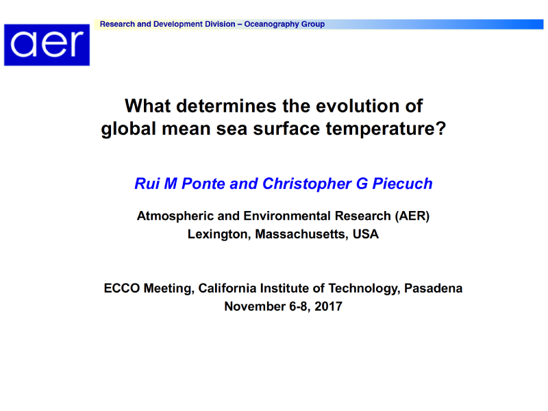Presentation title page: What Determines the Evolution of Global Mean Sea Surface Temperature?