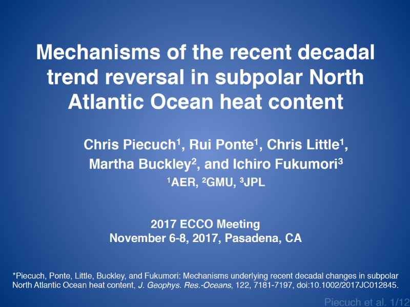 Presentation title page: Mechanisms of the Recent Decadal Trend Reversal in Subpolar North Atlantic Ocean Heat Content