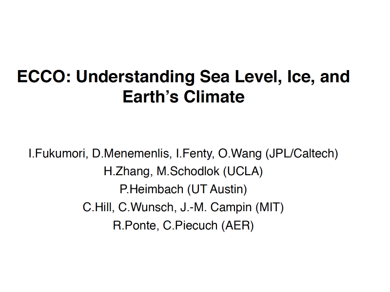 Presentation title page: ECCO: Understanding Sea Level, Ice, and