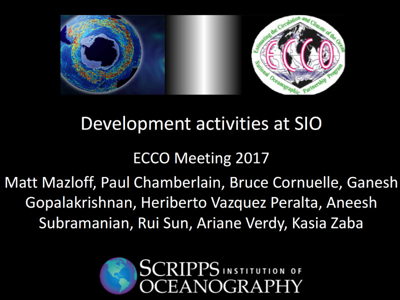 Presentation title page: Development Activities at SIO