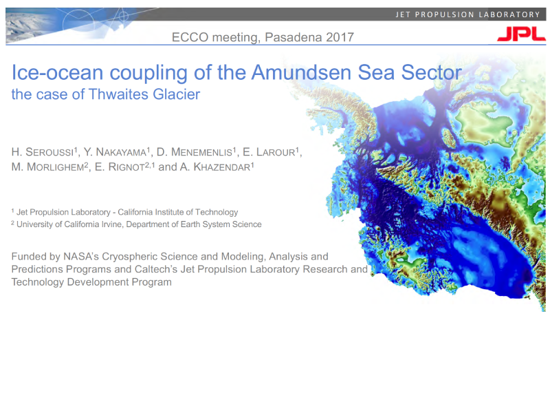 Presentation title page: Ice-ocean Coupling of the Amundsen Sea Sector: The case of Thwaites Glacier