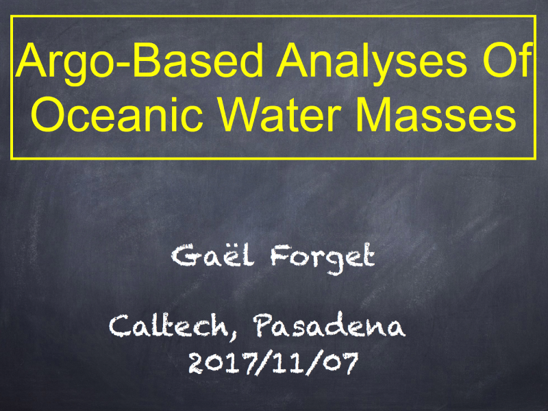 Presentation title page: Argo-Based Analyses of Oceanic Water Masses