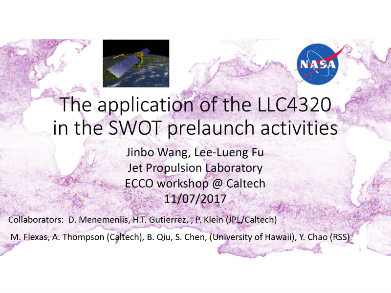 Presentation title page: The Application of the LLC4320 in the SWOT Prelaunch Activities