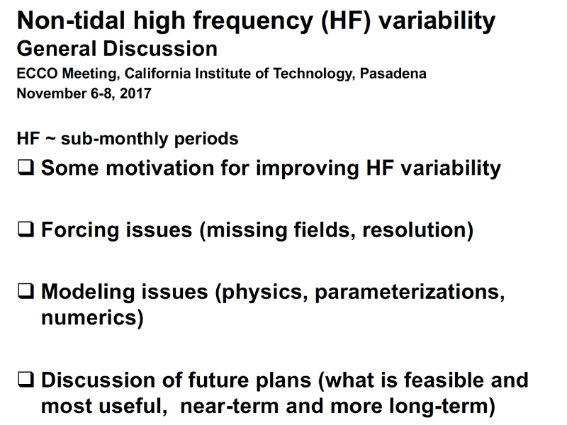Presentation title page: Non-tidal High Frequency (HF) Variability