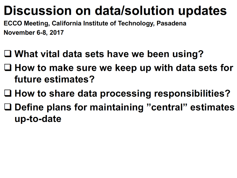 Presentation title page: Discussion on Data/Solution Updates
