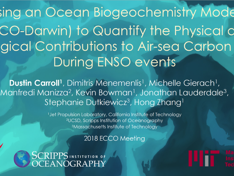 Presentation title page: Using an Ocean Biogeochemistry Model (ECCO-Darwin) to Quantify the Physical and Biological Contributions to Air-sea Carbon Flux During ENSO Events