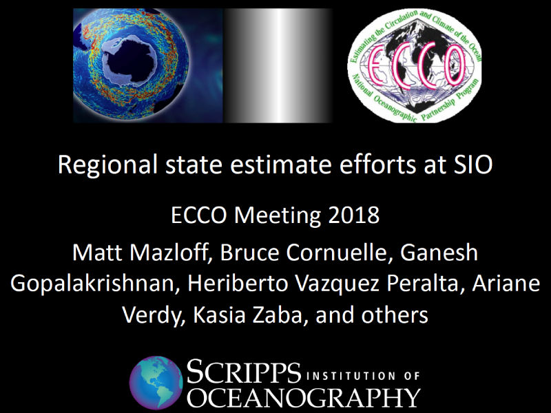 Presentation title page: Regional State Estimate Efforts at SIO