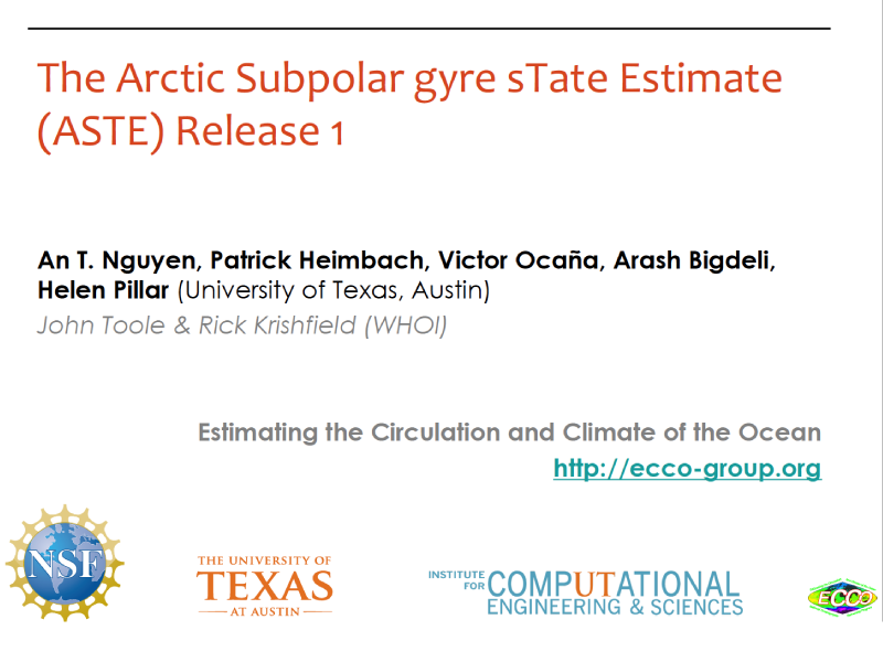 Presentation title page: The Arctic Subpolar gyre sTate Estimate (ASTE) Release 1