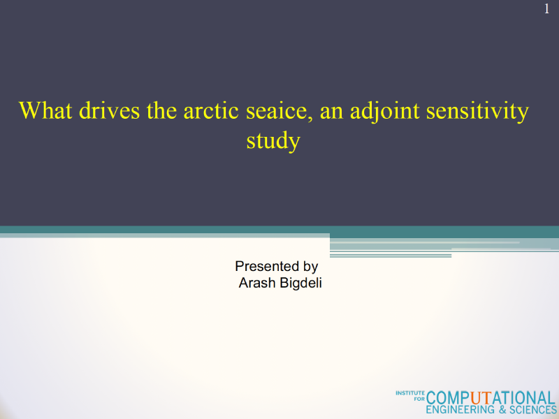 Presentation title page: What Drives the Arctic Sea Ice, an Adjoint Sensitivity Study