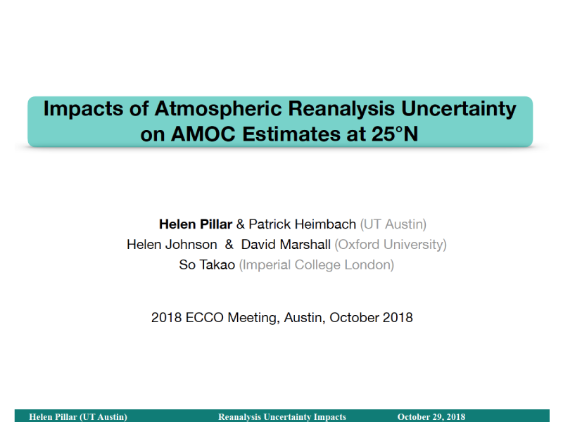 Presentation title page: Impacts of Atmospheric Reanalysis Uncertainty on AMOC Estimates at 25°N