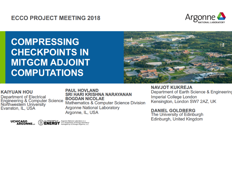 Presentation title page: Compressing Checkpoints in MITgcm Adjoint Computations
