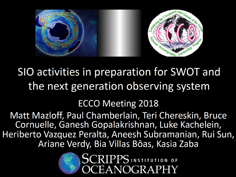 Presentation title page: SIO Activities in Preparation for SWOT and the Next Generation Observing System