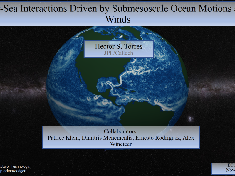 Presentation title page: Air-Sea Interactions Driven by Submesoscale Ocean Motions and Winds