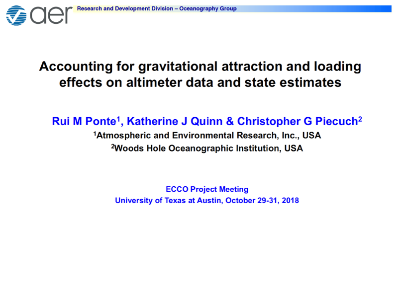 Presentation title page: Accounting for Gravitational Attraction and Loading Effects on Altimeter Data and State Estimates