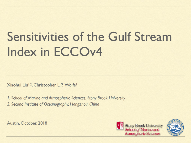 Presentation title page: Sensitivities of the Gulf Stream Index in ECCOv4