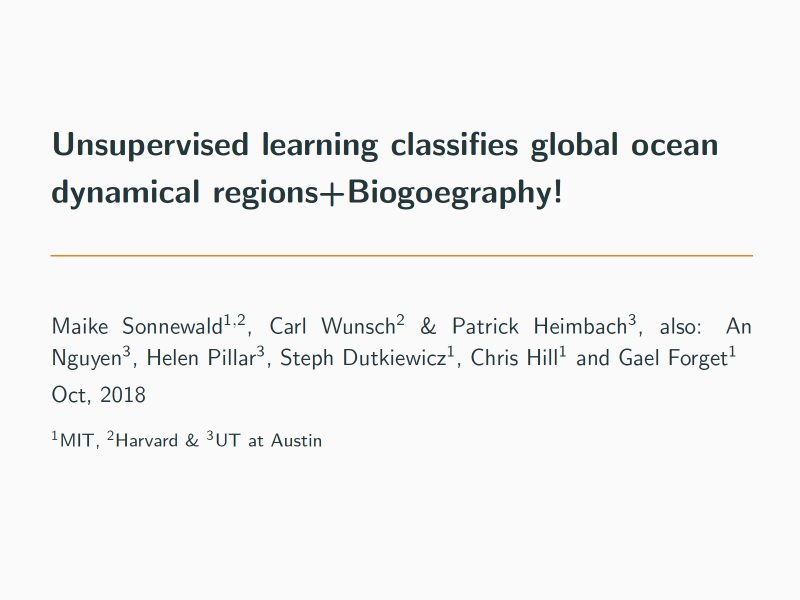 Presentation title page: Unsupervised Learning Classifies Global Ocean Dynamical Regions + Biogeography!