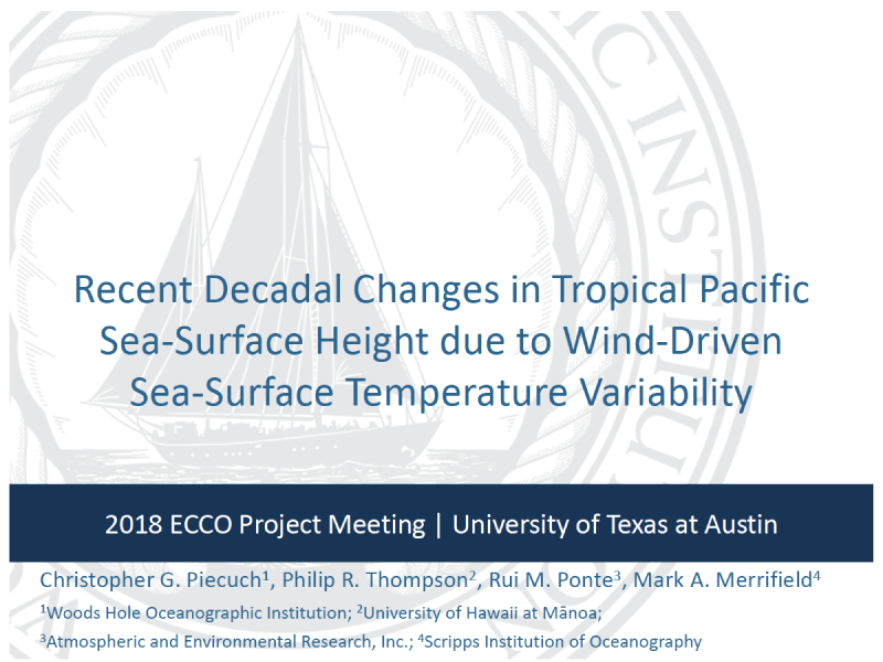 Presentation title page: Recent Decadal Changes in Tropical Pacific Sea-Surface Height Due to Wind-Driven Sea-Surface Temperature Variability