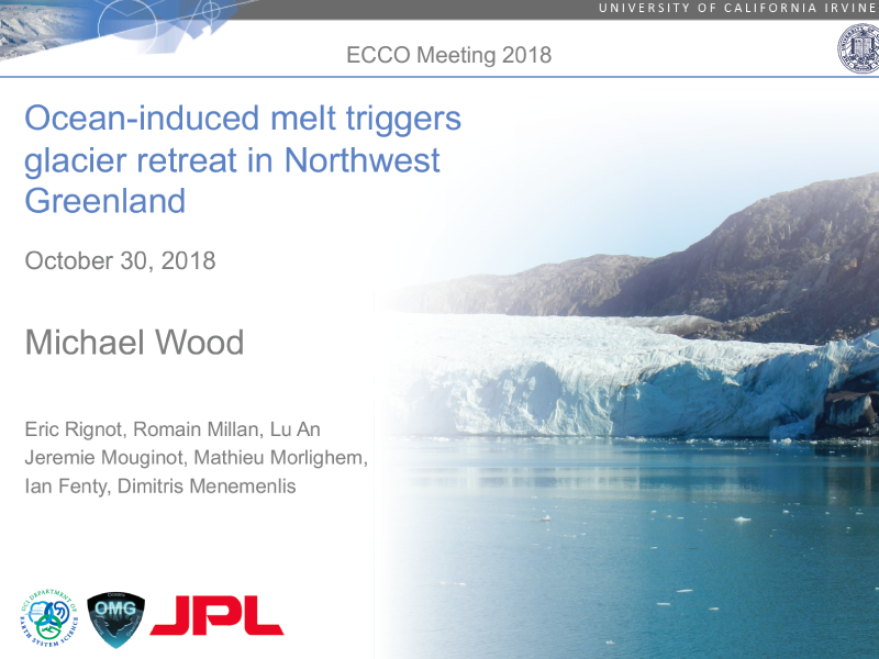 Presentation title page: Ocean-induced Melt Triggers Glacier Retreat in Northwest Greenland