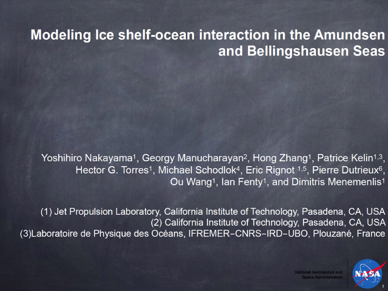 Presentation title page: Modeling Ice Shelf-ocean Interaction in the Amundsen and Bellingshausen Seas