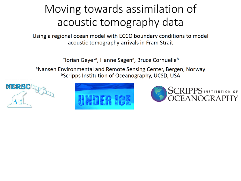 Presentation title page: Moving Towards Assimilation of Acoustic Tomography Data