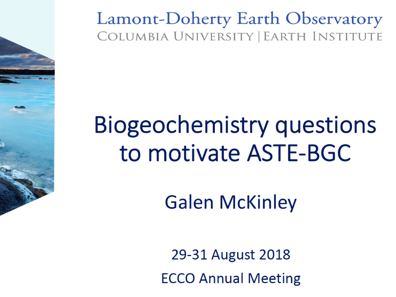 Presentation title page: Biogeochemistry Questions to Motivate ASTE-BGC