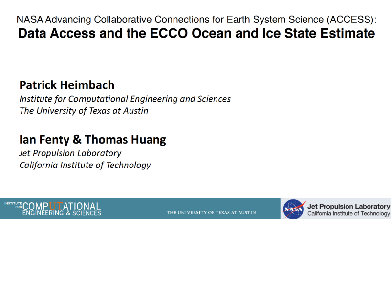 Presentation title page: NASA Advancing Collaborative Connections for Earth System Science (ACCESS): Data Access and the ECCO Ocean and Ice State Estimate