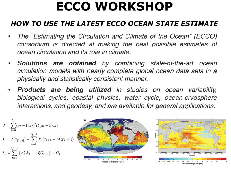 Presentation title page: ECCO Town Hall: How to Use the Latest ECCO Ocean State Estimate