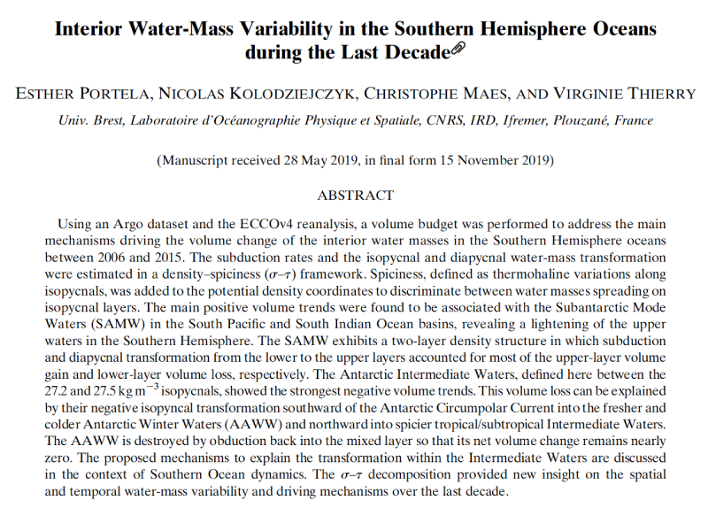 Presentation title page: Interior Water-Mass Variability in the Southern Hemisphere Oceans during the Last Decade