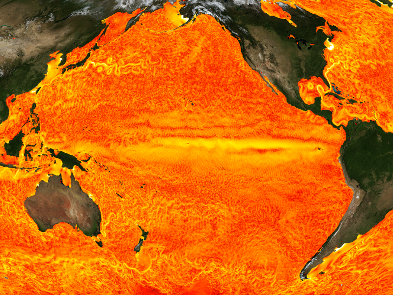 Sea surface speeds simulated in very high resolution