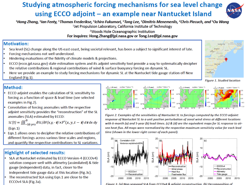 Presentation title page: Studying Atmospheric Forcing Mechanisms for Sea Level Change using ECCO Adjoint - an Example near Nantucket Island